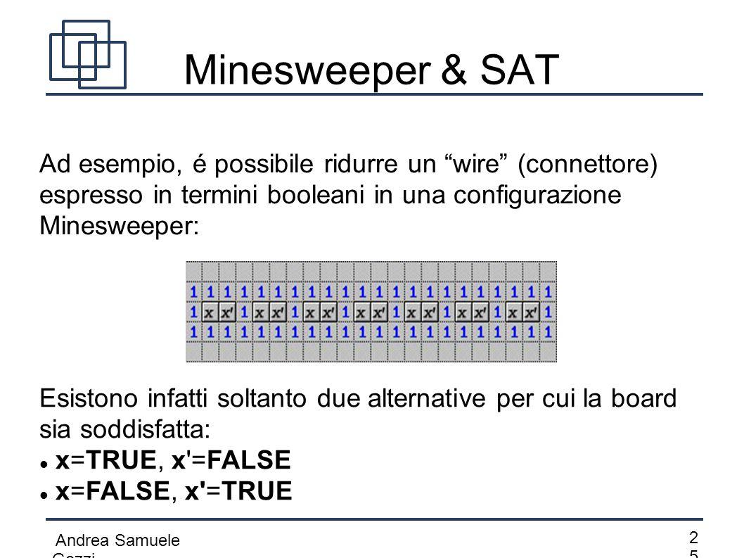 """Andrea Samuele Gozzi 2525 Minesweeper & SAT Ad esempio, é possibile ridurre un """"wire"""" (connettore) espresso in termini booleani in una configurazione"""