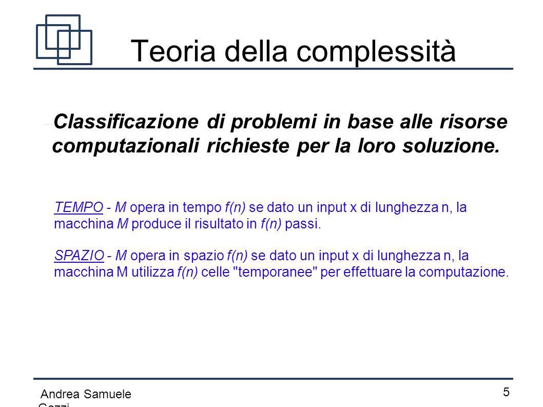 Andrea Samuele Gozzi 5 Teoria della complessità  Classificazione di problemi in base alle risorse computazionali richieste per la loro soluzione. TEM