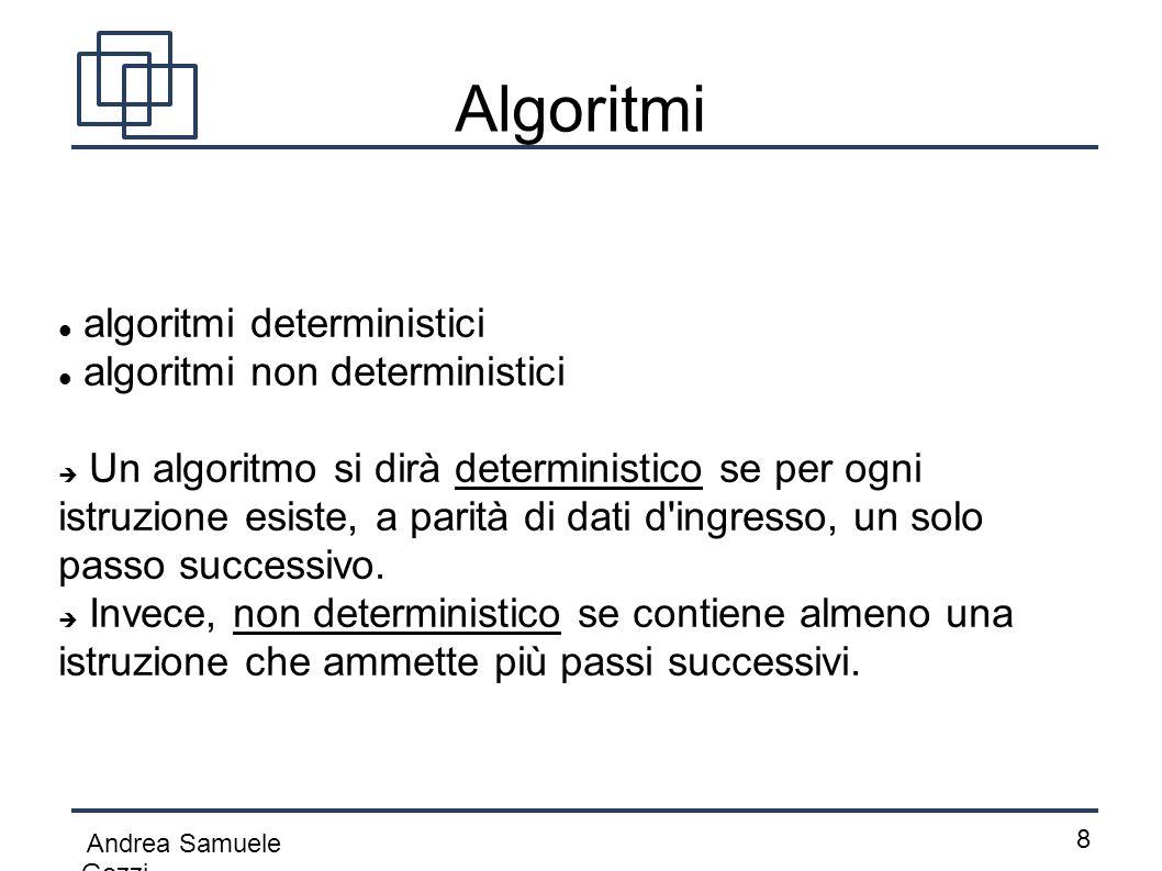 Andrea Samuele Gozzi 8 Algoritmi algoritmi deterministici algoritmi non deterministici  Un algoritmo si dirà deterministico se per ogni istruzione es