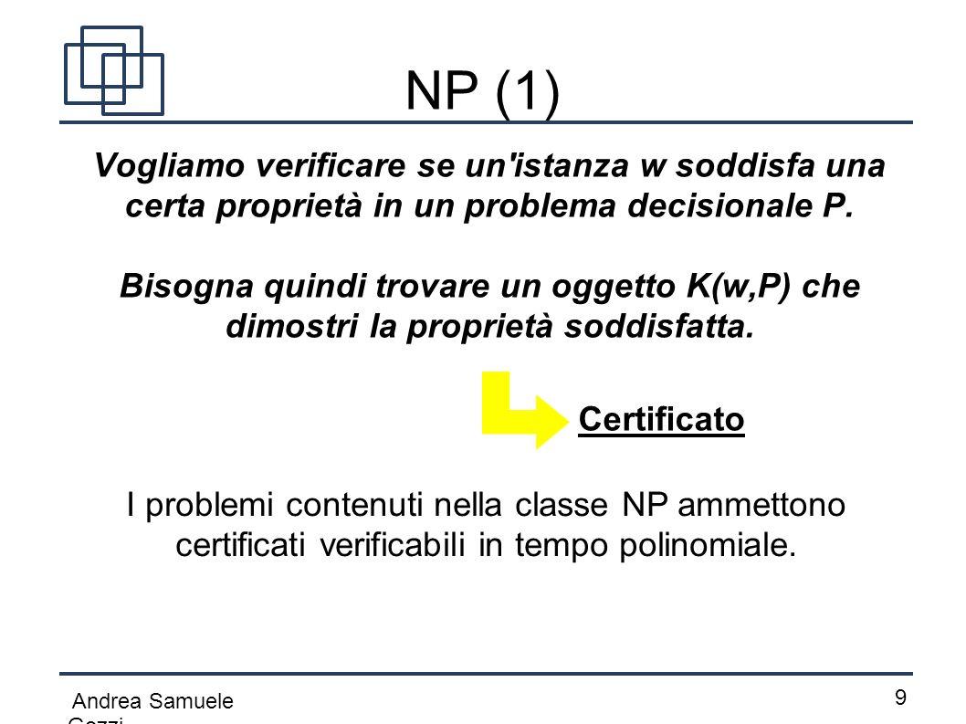 Andrea Samuele Gozzi 9 NP (1) Vogliamo verificare se un'istanza w soddisfa una certa proprietà in un problema decisionale P. Bisogna quindi trovare u