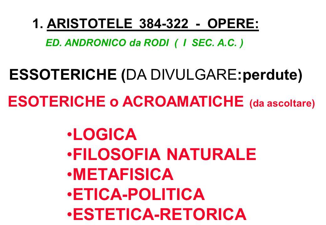 1. ARISTOTELE 384-322 - OPERE: ESSOTERICHE (DA DIVULGARE:perdute) ED. ANDRONICO da RODI ( I SEC. A.C. ) LOGICA FILOSOFIA NATURALE METAFISICA ETICA-POL