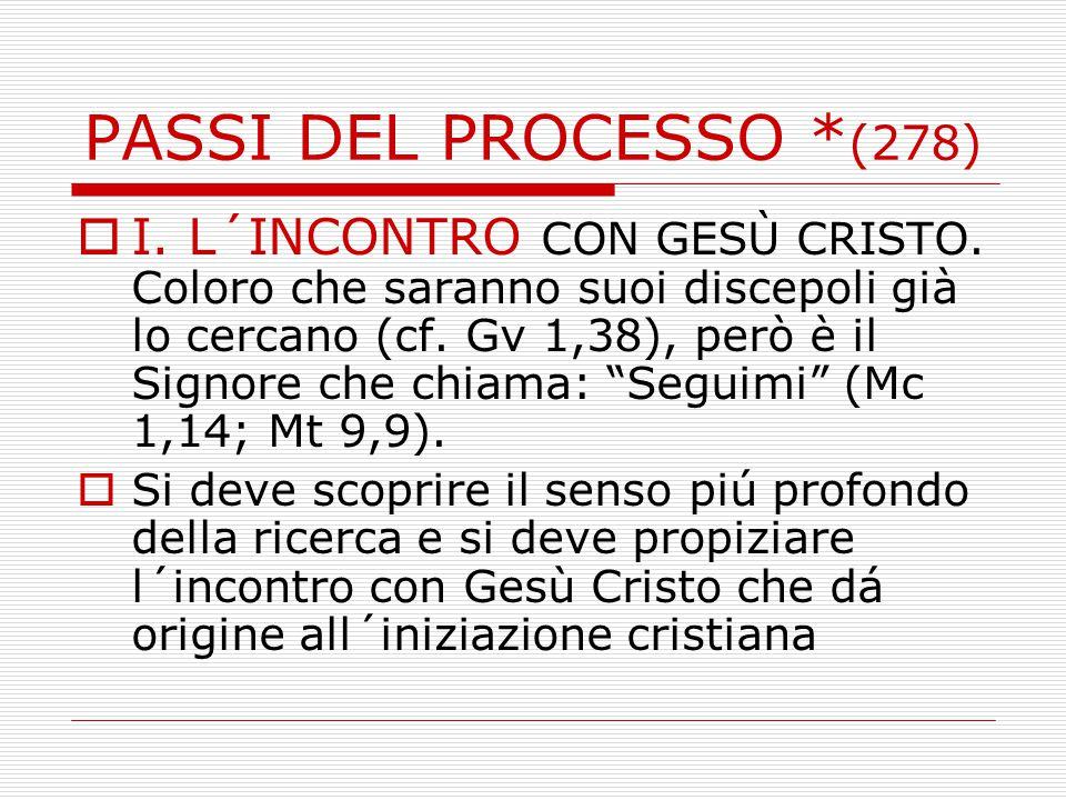 PASSI DEL PROCESSO * (278)  I.L´INCONTRO CON GESÙ CRISTO.