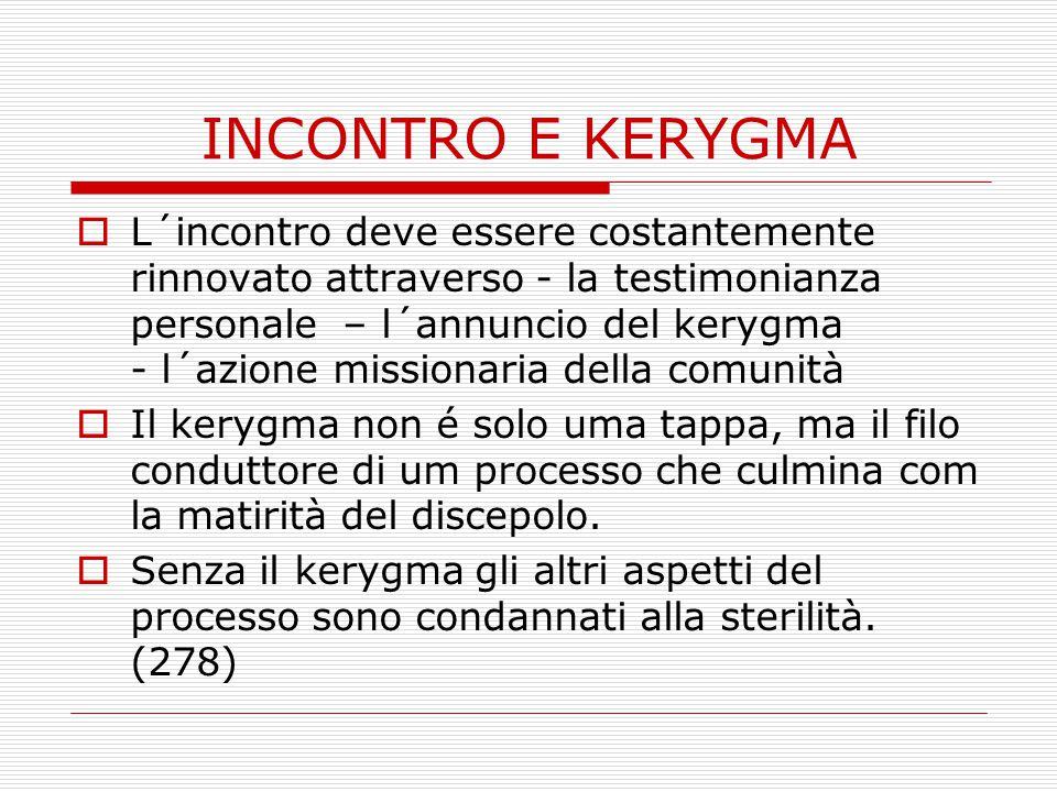 INCONTRO E KERYGMA  L´incontro deve essere costantemente rinnovato attraverso - la testimonianza personale – l´annuncio del kerygma - l´azione missio