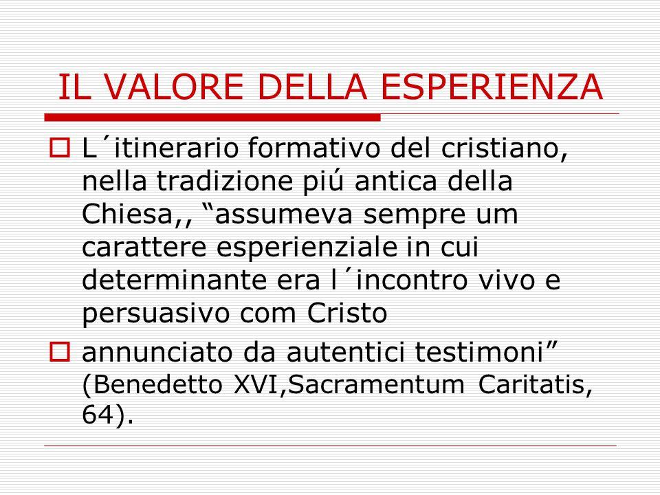 IL VALORE DELLA ESPERIENZA  L´itinerario formativo del cristiano, nella tradizione piú antica della Chiesa,, assumeva sempre um carattere esperienziale in cui determinante era l´incontro vivo e persuasivo com Cristo  annunciato da autentici testimoni (Benedetto XVI,Sacramentum Caritatis, 64).