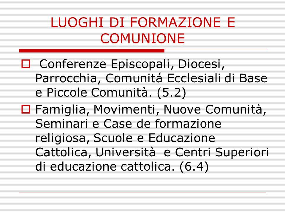 LUOGHI DI FORMAZIONE E COMUNIONE  Conferenze Episcopali, Diocesi, Parrocchia, Comunitá Ecclesiali di Base e Piccole Comunità.