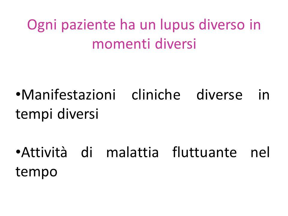 Ogni paziente ha un lupus diverso in momenti diversi Manifestazioni cliniche diverse in tempi diversi Attività di malattia fluttuante nel tempo