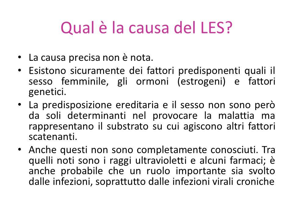 Qual è la causa del LES? La causa precisa non è nota. Esistono sicuramente dei fattori predisponenti quali il sesso femminile, gli ormoni (estrogeni)