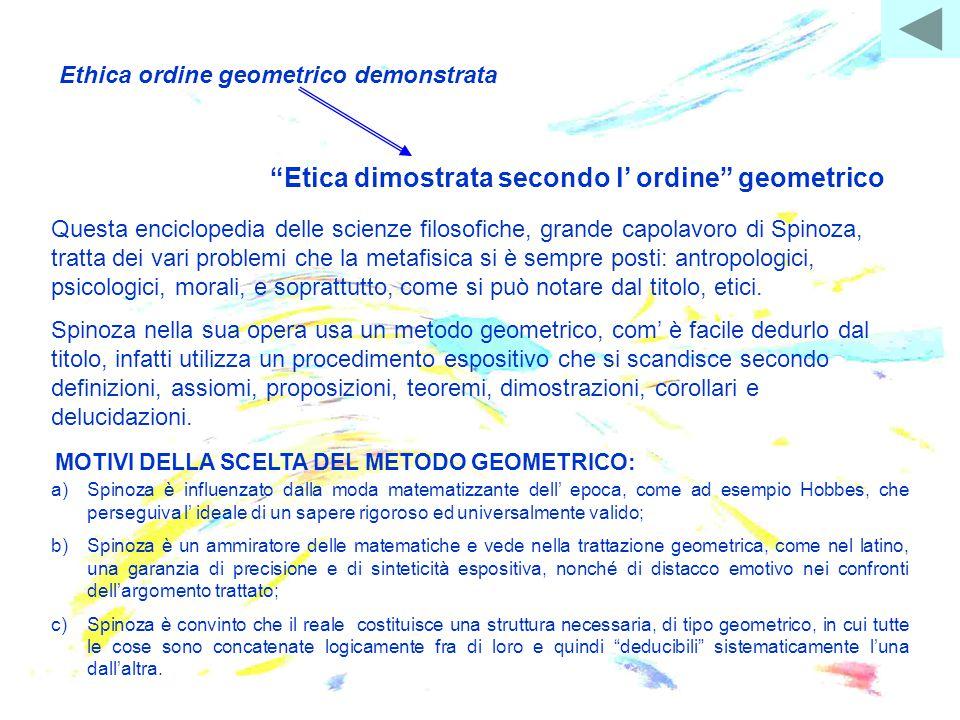 """Ethica ordine geometrico demonstrata """"Etica dimostrata secondo l' ordine"""" geometrico Questa enciclopedia delle scienze filosofiche, grande capolavoro"""