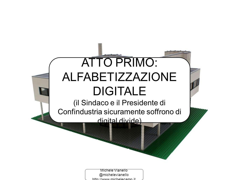 Michele Vianello @michelevianello http://www.michelecamp.it Michele Vianello @michelevianello http://www.michelecamp.it ATTO PRIMO: ALFABETIZZAZIONE DIGITALE (il Sindaco e il Presidente di Confindustria sicuramente soffrono di digital divide)