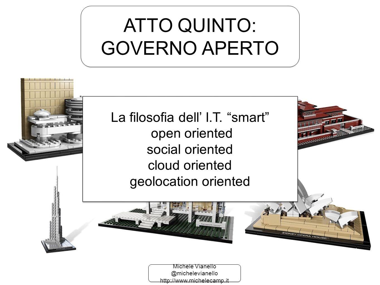 Michele Vianello @michelevianello http://www.michelecamp.it Michele Vianello @michelevianello http://www.michelecamp.it ATTO QUINTO: GOVERNO APERTO ATTO QUINTO: GOVERNO APERTO La filosofia dell' I.T.