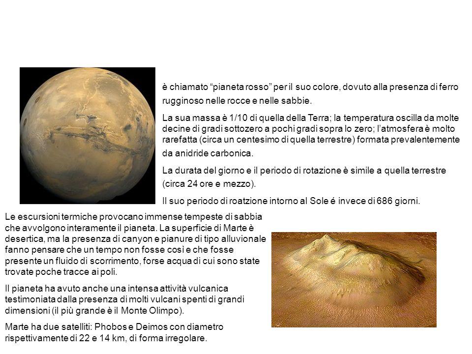 """Il pianeta Marte. è chiamato """"pianeta rosso"""" per il suo colore, dovuto alla presenza di ferro rugginoso nelle rocce e nelle sabbie. La sua massa è 1/1"""