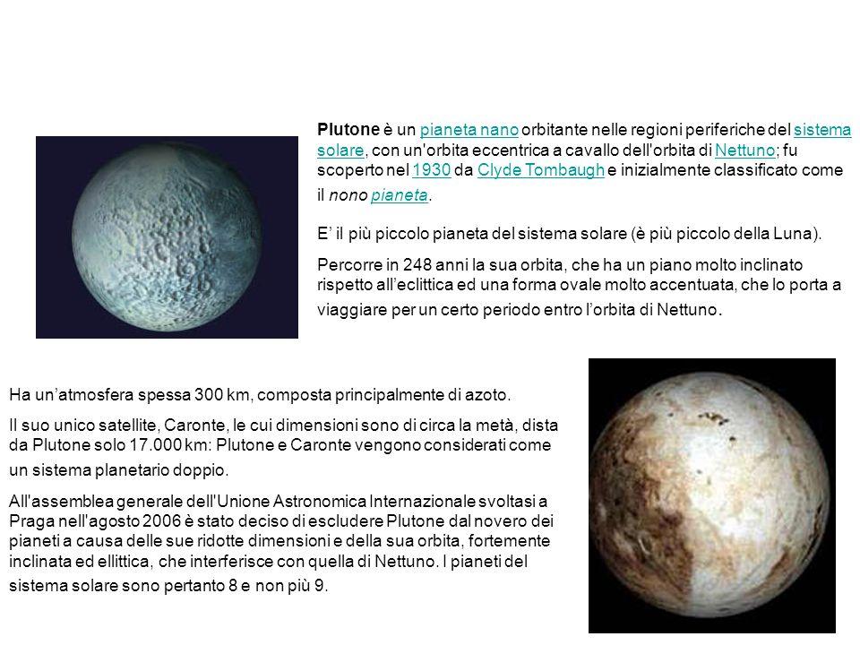 Il pianeta Plutone. Plutone è un pianeta nano orbitante nelle regioni periferiche del sistema solare, con un'orbita eccentrica a cavallo dell'orbita d