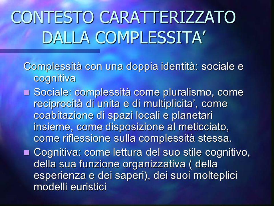 CONTESTO CARATTERIZZATO DALLA COMPLESSITA' Complessità con una doppia identità: sociale e cognitiva Sociale: complessità come pluralismo, come recipro