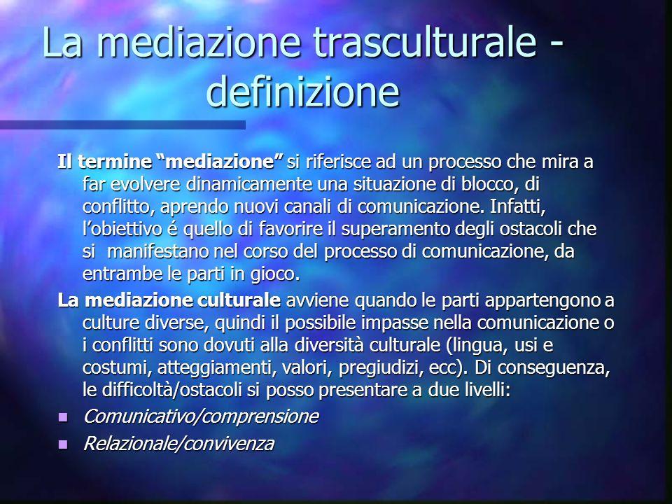 """La mediazione trasculturale - definizione Il termine """"mediazione"""" si riferisce ad un processo che mira a far evolvere dinamicamente una situazione di"""