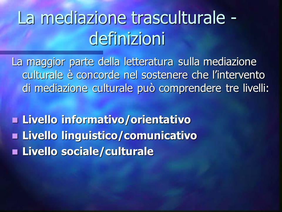 La mediazione trasculturale - definizioni La maggior parte della letteratura sulla mediazione culturale è concorde nel sostenere che l'intervento di m