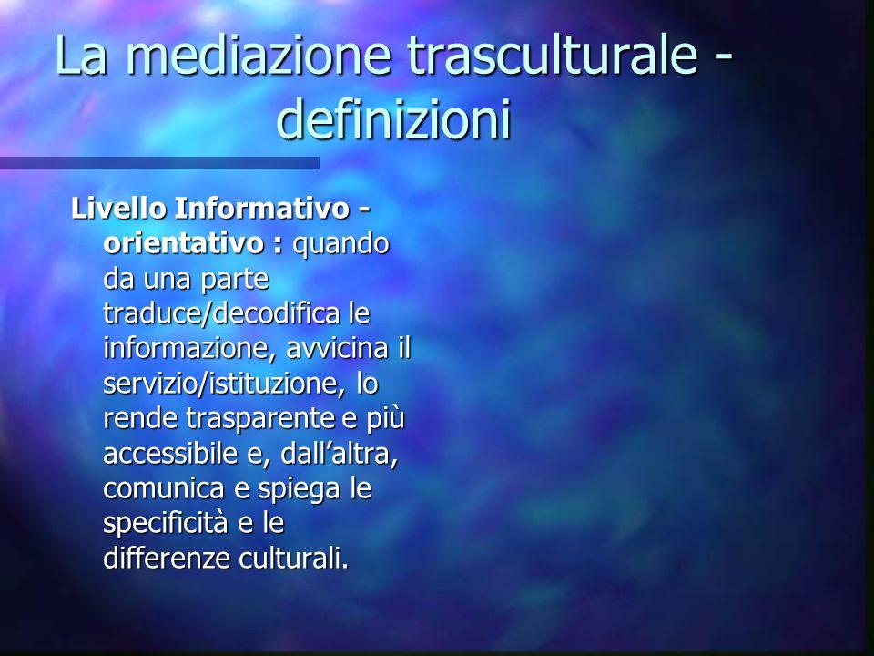 La mediazione trasculturale - definizioni Livello Informativo - orientativo : quando da una parte traduce/decodifica le informazione, avvicina il serv