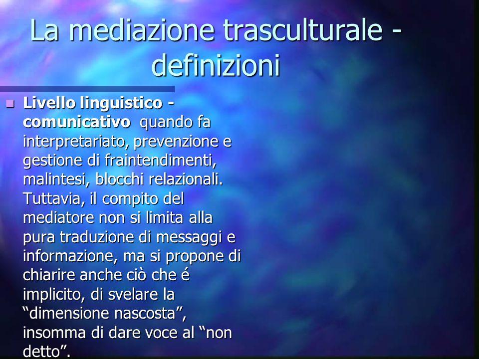 La mediazione trasculturale - definizioni Livello linguistico - comunicativo quando fa interpretariato, prevenzione e gestione di fraintendimenti, mal