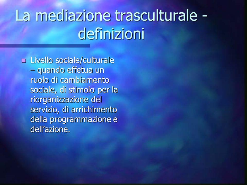 La mediazione trasculturale - definizioni Livello sociale/culturale – quando effetua un ruolo di cambiamento sociale, di stimolo per la riorganizzazio