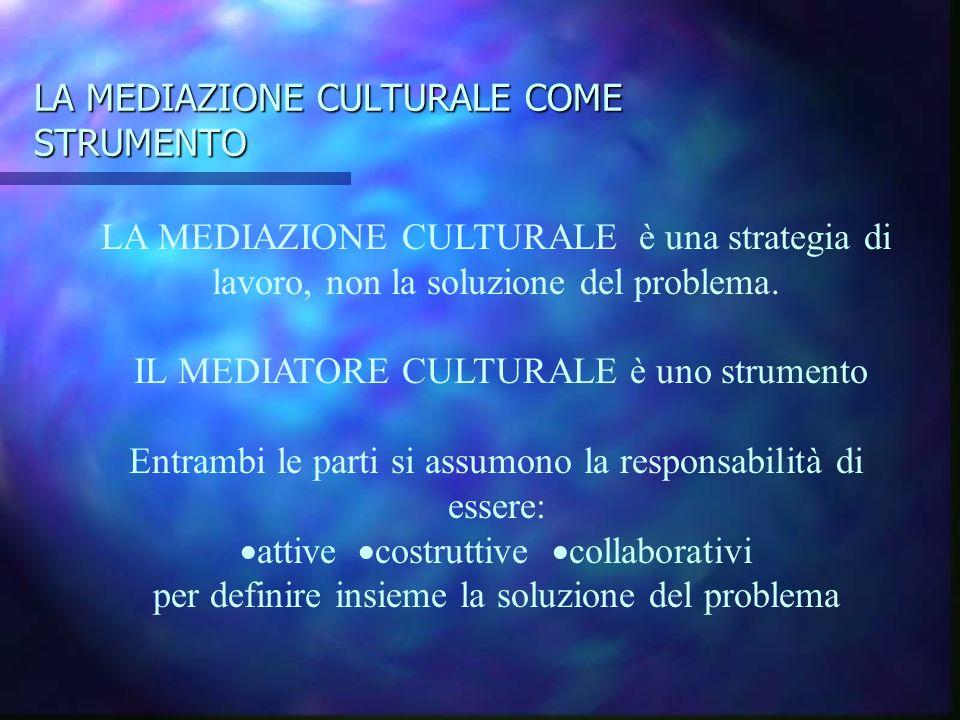 LA MEDIAZIONE CULTURALE COME STRUMENTO LA MEDIAZIONE CULTURALE è una strategia di lavoro, non la soluzione del problema. IL MEDIATORE CULTURALE è uno
