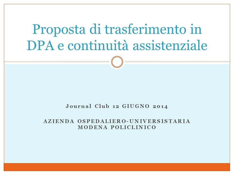 Journal Club 12 GIUGNO 2014 AZIENDA OSPEDALIERO-UNIVERSISTARIA MODENA POLICLINICO Proposta di trasferimento in DPA e continuità assistenziale