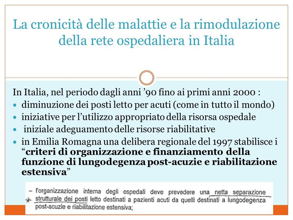 La cronicità delle malattie e la rimodulazione della rete ospedaliera in Italia In Italia, nel periodo dagli anni '90 fino ai primi anni 2000 : diminuzione dei posti letto per acuti (come in tutto il mondo) iniziative per l'utilizzo appropriato della risorsa ospedale iniziale adeguamento delle risorse riabilitative in Emilia Romagna una delibera regionale del 1997 stabilisce i criteri di organizzazione e finanziamento della funzione di lungodegenza post-acuzie e riabilitazione estensiva