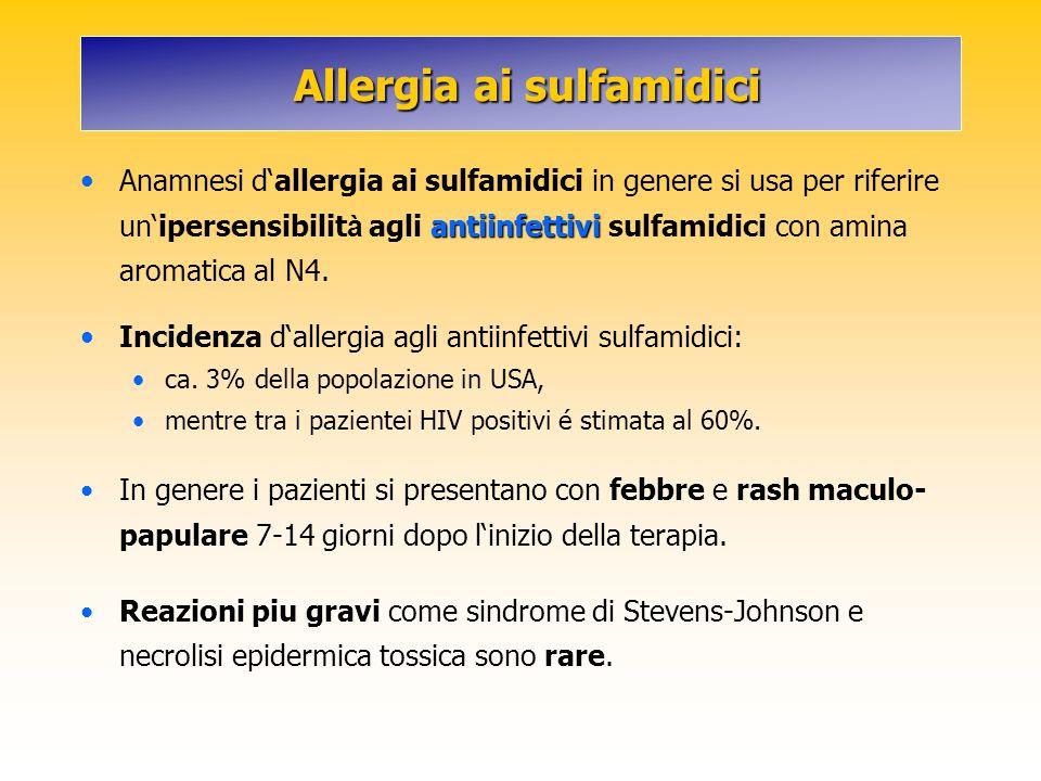 Allergia ai sulfamidici Allergia ai sulfamidici antiinfettivi Anamnesi d'allergia ai sulfamidici in genere si usa per riferire un'ipersensibilit à agl