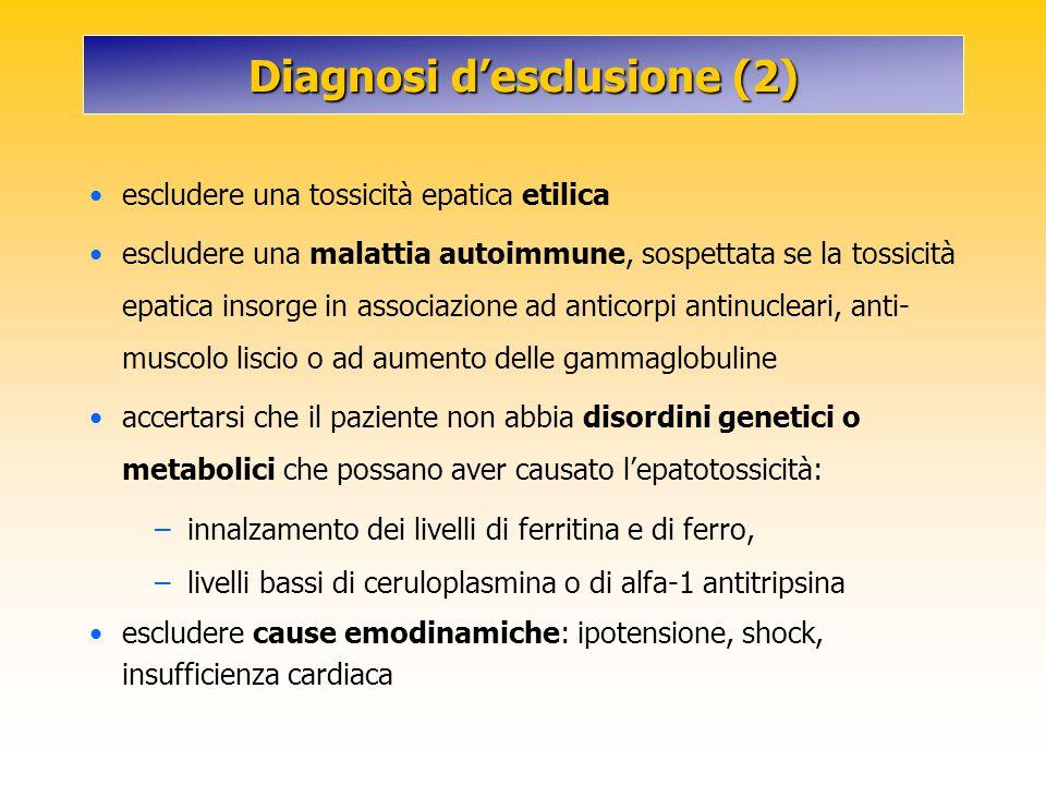 Diagnosi d'esclusione (2) escludere una tossicità epatica etilica escludere una malattia autoimmune, sospettata se la tossicità epatica insorge in ass