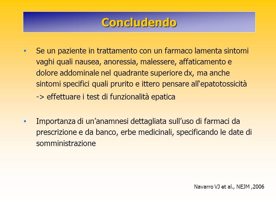 Concludendo Se un paziente in trattamento con un farmaco lamenta sintomi vaghi quali nausea, anoressia, malessere, affaticamento e dolore addominale n