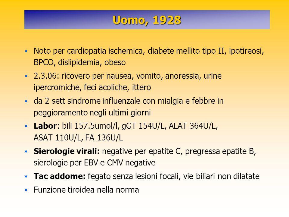 Uomo, 1928 Noto per cardiopatia ischemica, diabete mellito tipo II, ipotireosi, BPCO, dislipidemia, obeso 2.3.06: ricovero per nausea, vomito, anoress