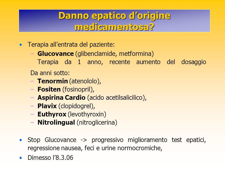 Danno epatico d'origine medicamentosa? Terapia all'entrata del paziente: –Glucovance (glibenclamide, metformina) Terapia da 1 anno, recente aumento de