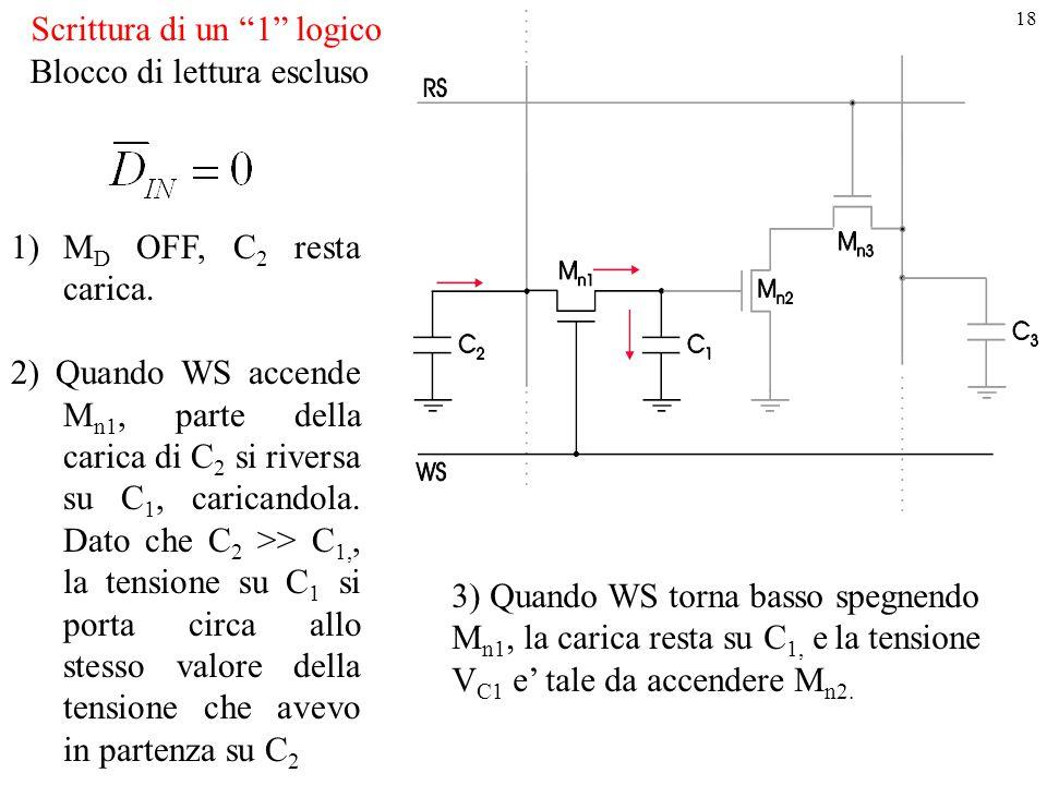 """18 Scrittura di un """"1"""" logico 1)M D OFF, C 2 resta carica. 2) Quando WS accende M n1, parte della carica di C 2 si riversa su C 1, caricandola. Dato c"""