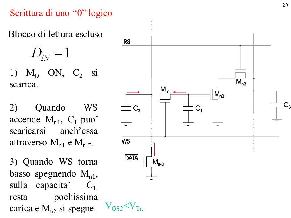"""20 Scrittura di uno """"0"""" logico 1) M D ON, C 2 si scarica. 2) Quando WS accende M n1, C 1 puo' scaricarsi anch'essa attraverso M n1 e M n-D 3) Quando W"""