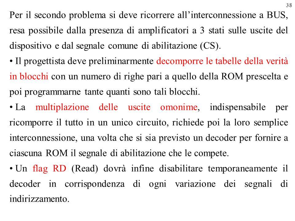 38 Per il secondo problema si deve ricorrere all'interconnessione a BUS, resa possibile dalla presenza di amplificatori a 3 stati sulle uscite del dis