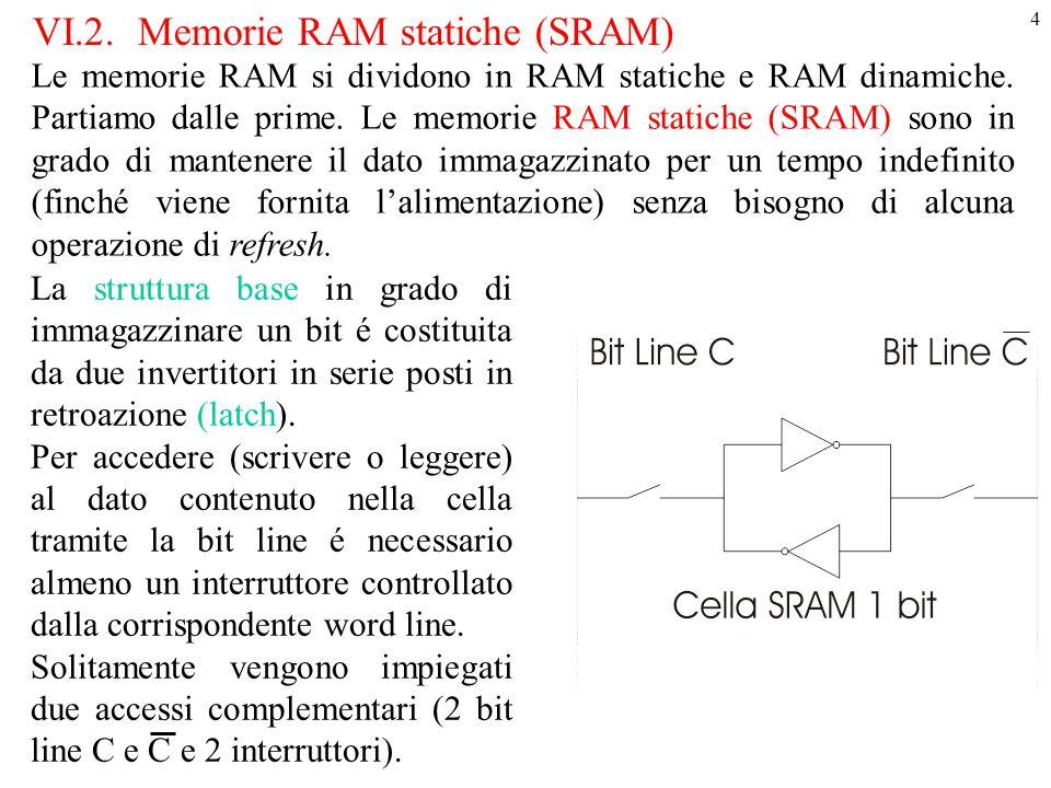 5 Cella SRAM in CMOS La cella SRAM a 6 transistor (6-T SRAM) qui riportata presenta alcune problematiche: infatti durante la fase di lettura si vuole determinare lo stato della cella tramite i transistor di accesso senza alterare lo stato presente nella cella, mentre in fase di scrittura si vuole forzare, sempre tramite gli stessi transistor d'accesso, la cella nello stato desiderato.