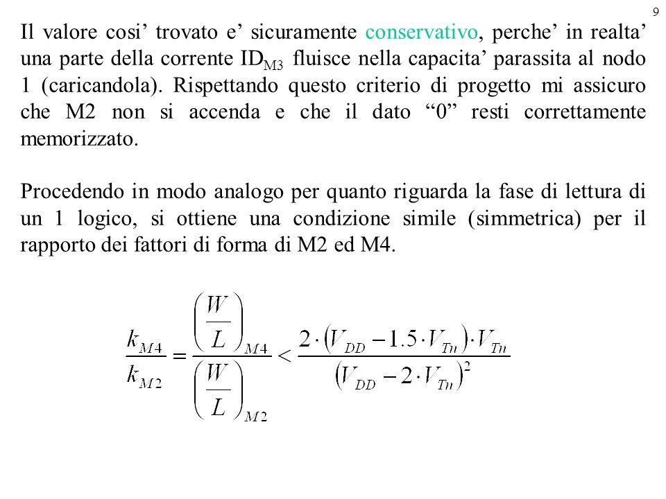 9 Il valore cosi' trovato e' sicuramente conservativo, perche' in realta' una parte della corrente ID M3 fluisce nella capacita' parassita al nodo 1 (