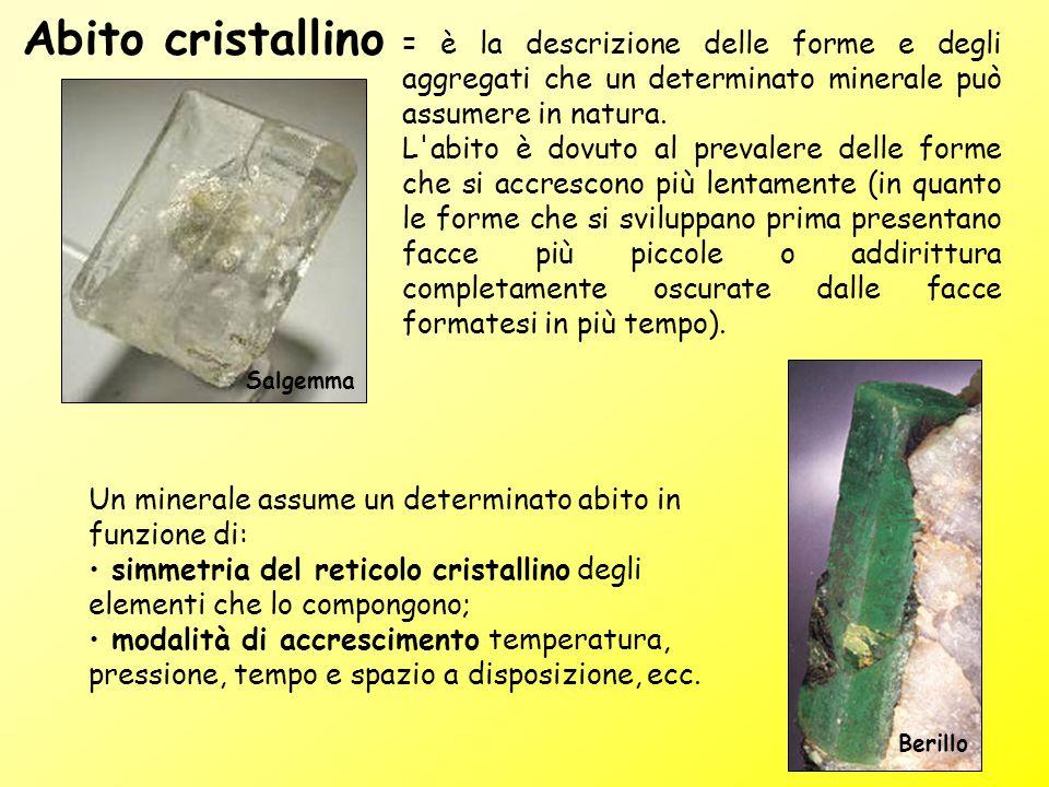 = è la descrizione delle forme e degli aggregati che un determinato minerale può assumere in natura. L'abito è dovuto al prevalere delle forme che si