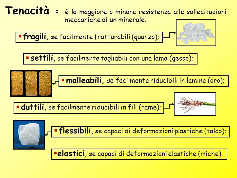 =è la maggiore o minore resistenza alle sollecitazioni meccaniche di un minerale. Tenacità  elastici, se capaci di deformazioni elastiche (miche). 