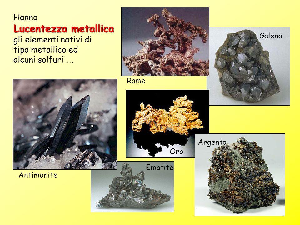 Galena Ematite Rame Oro Hanno Lucentezza metallica gli elementi nativi di tipo metallico ed alcuni solfuri … Antimonite Argento