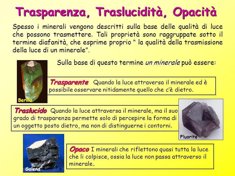 Trasparenza, Traslucidità, Opacità Spesso i minerali vengono descritti sulla base delle qualità di luce che possono trasmettere. Tali proprietà sono r