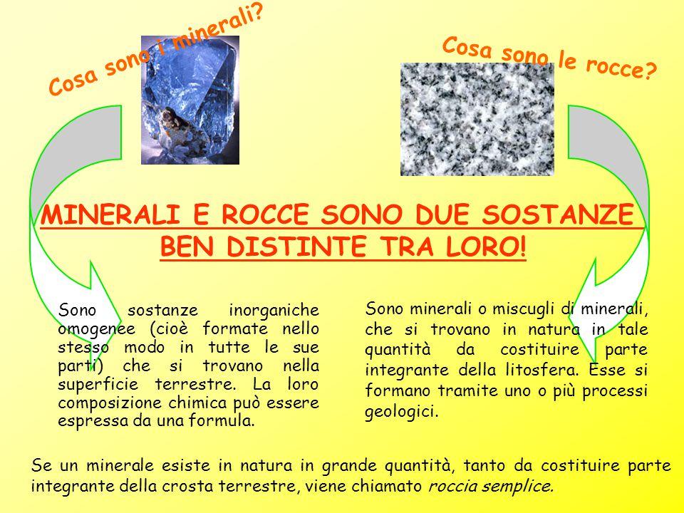 MINERALI E ROCCE SONO DUE SOSTANZE BEN DISTINTE TRA LORO! Cosa sono i minerali? Sono sostanze inorganiche omogenee (cioè formate nello stesso modo in