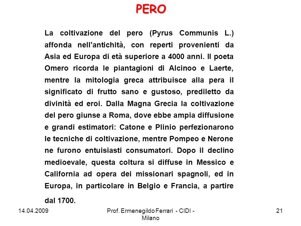 La coltivazione del pero (Pyrus Communis L.) affonda nell'antichità, con reperti provenienti da Asia ed Europa di età superiore a 4000 anni. Il poeta