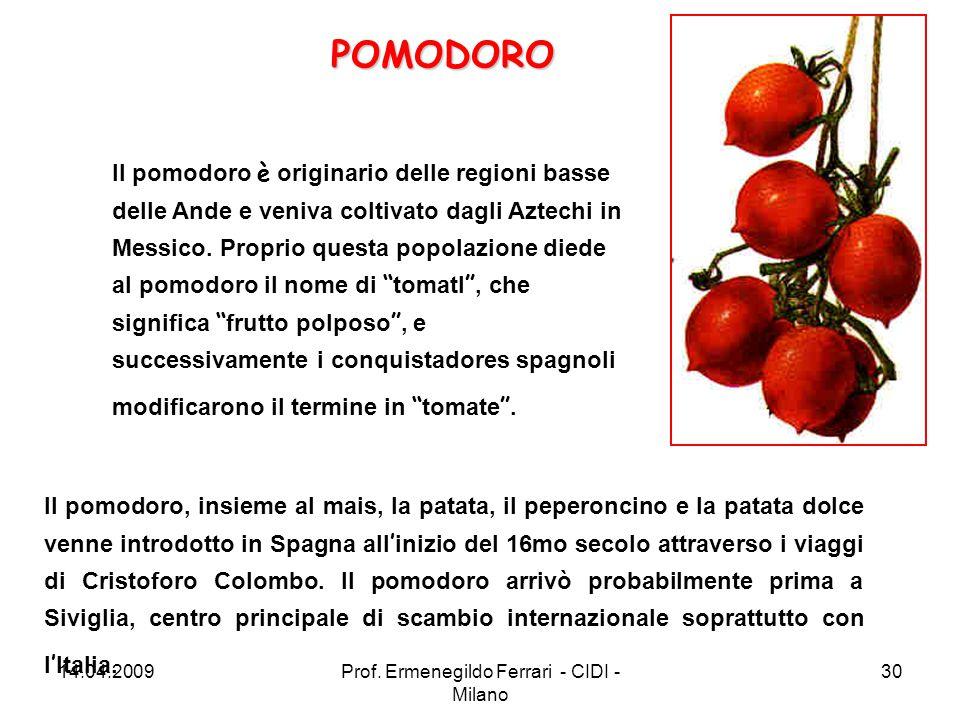Il pomodoro è originario delle regioni basse delle Ande e veniva coltivato dagli Aztechi in Messico. Proprio questa popolazione diede al pomodoro il n