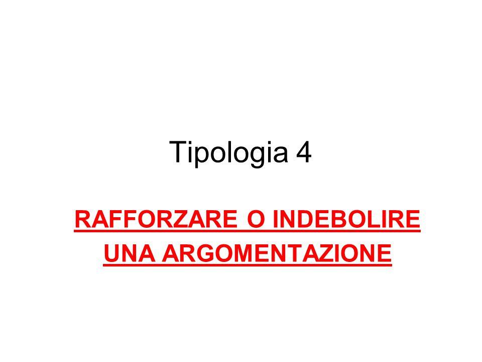 Tipologia 4 RAFFORZARE O INDEBOLIRE UNA ARGOMENTAZIONE