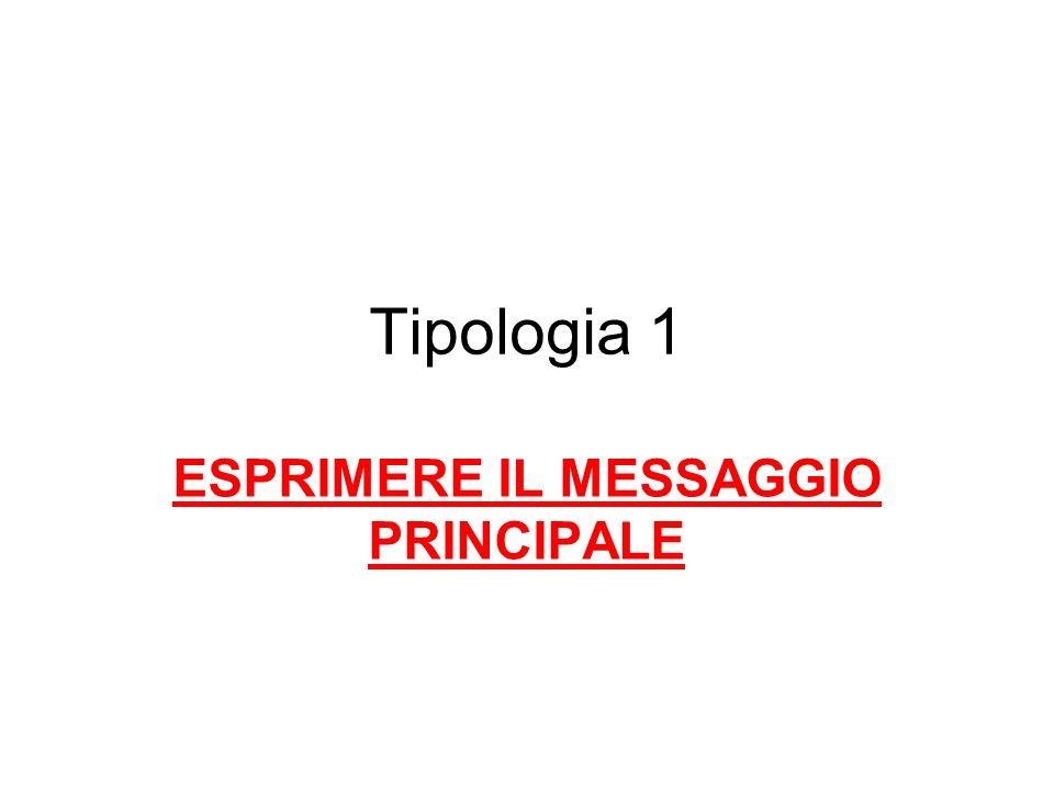 Tipologia 1 ESPRIMERE IL MESSAGGIO PRINCIPALE