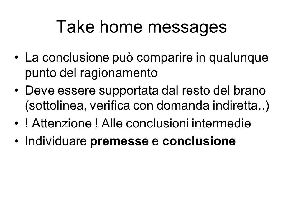 Take home messages La conclusione può comparire in qualunque punto del ragionamento Deve essere supportata dal resto del brano (sottolinea, verifica con domanda indiretta..) .
