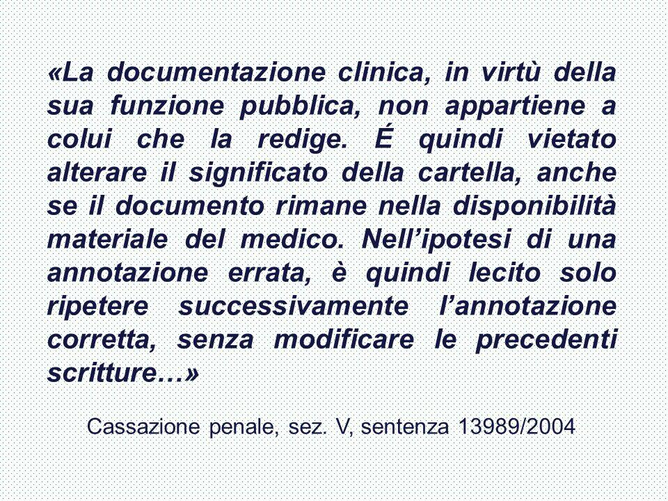 «La documentazione clinica, in virtù della sua funzione pubblica, non appartiene a colui che la redige. É quindi vietato alterare il significato della