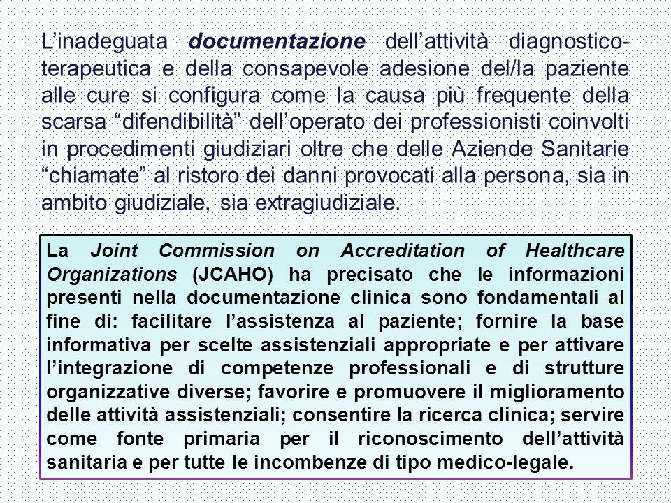 L'inadeguata documentazione dell'attività diagnostico- terapeutica e della consapevole adesione del/la paziente alle cure si configura come la causa p