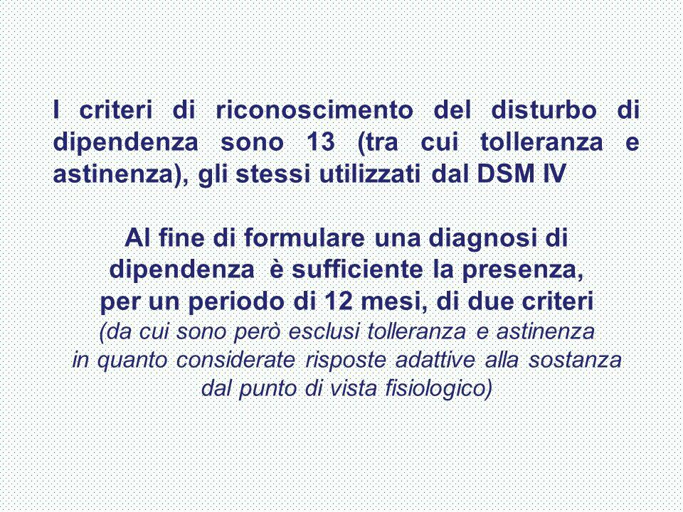 I criteri di riconoscimento del disturbo di dipendenza sono 13 (tra cui tolleranza e astinenza), gli stessi utilizzati dal DSM IV Al fine di formulare