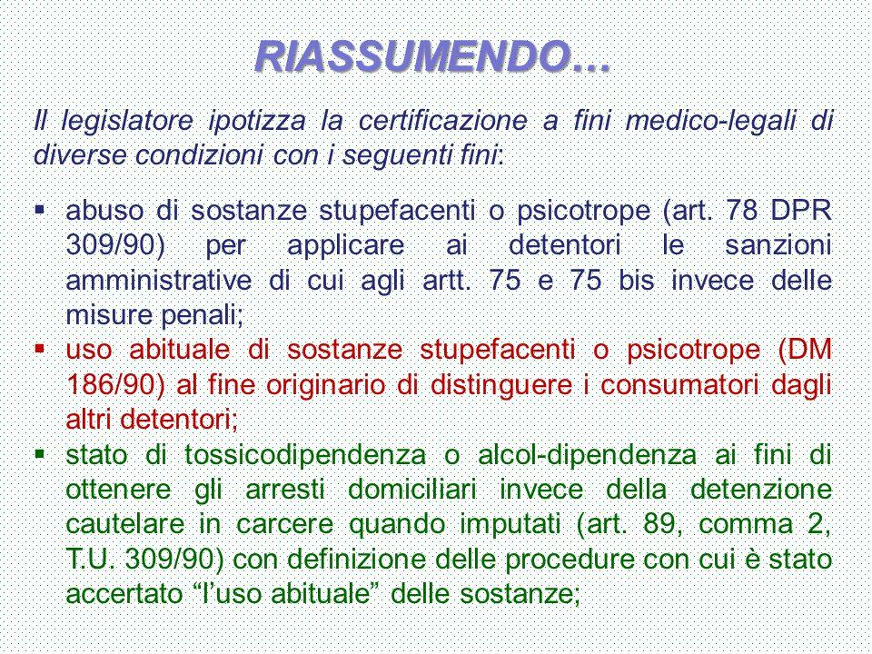 RIASSUMENDO… Il legislatore ipotizza la certificazione a fini medico-legali di diverse condizioni con i seguenti fini:  abuso di sostanze stupefacent