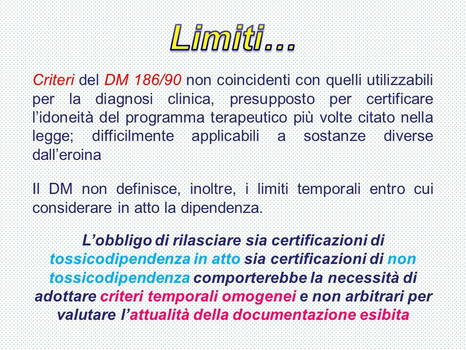 Criteri del DM 186/90 non coincidenti con quelli utilizzabili per la diagnosi clinica, presupposto per certificare l'idoneità del programma terapeutic